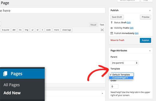 selecttemplate - Как создать пользовательскую страницу в WordPress