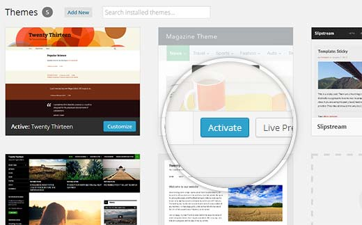activate-wp-theme