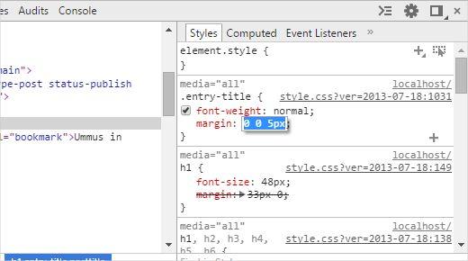 Редактирование атрибутов и стилей в окне CSS