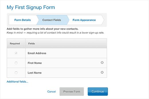 formfields - Как подсоединить Constant Contact к Wordpress: пошаговое руководство