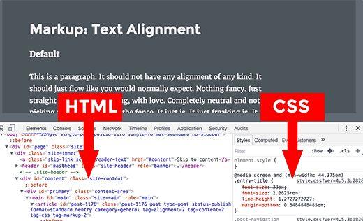 Слева вы видите HTML, а справа – правила CSS