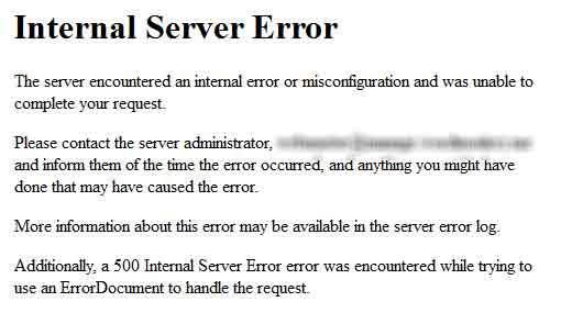 Internal Server Error in WordPress