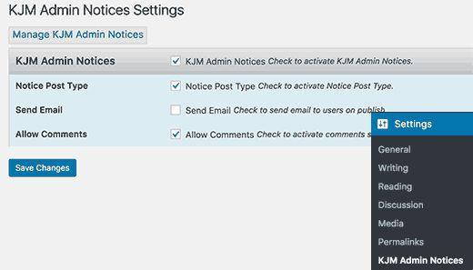 kjmadminnotices 1 - Как добавить свои администраторские уведомления в Wordpress