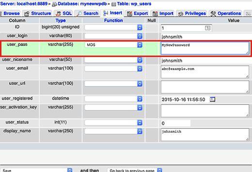 userpass - Как сбросить пароль администратора Wordpress в Localhost