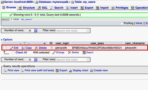 usersinwp - Как сбросить пароль администратора Wordpress в Localhost