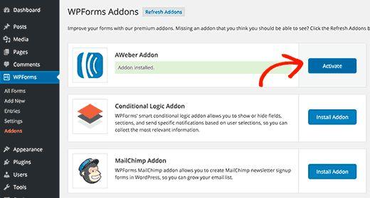 activateaddon - Полная инструкция как подсоединить Aweber к Wordpress