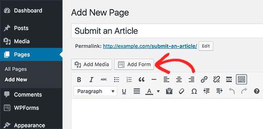 addformtopage - Как разрешить пользователям публиковать свои посты на сайте Wordpress