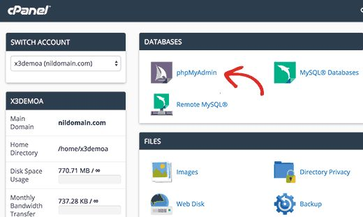 cpanel phpmyadmin - Как восстановить сайт Wordpress одной лишь копией баз данных