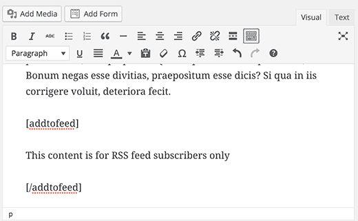 feedonlyshortcode - Как показывать контент только для подписчиков RSS