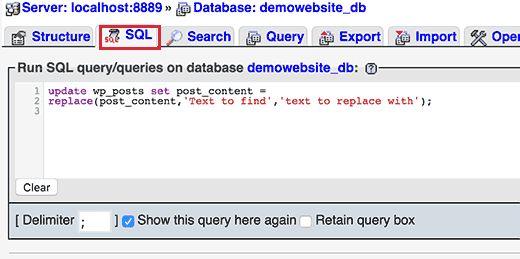 phpmyadminsql - Как найти и заменять текст в вашей базе данных Wordpress одним щелчком