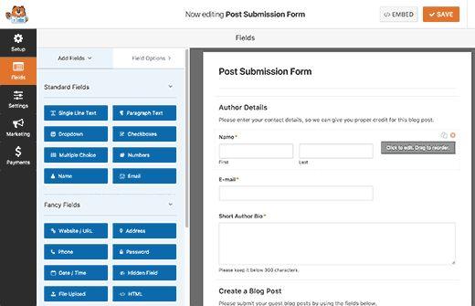 postsubmitform - Как разрешить пользователям публиковать свои посты на сайте Wordpress