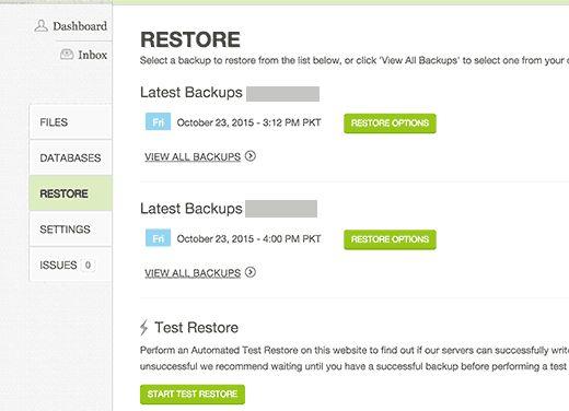 restoreoptions - Как настроить автоматический бэкап с помощью Codeguard
