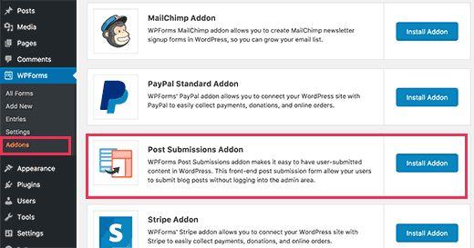 usersubmissionaddon - Как разрешить пользователям публиковать свои посты на сайте Wordpress