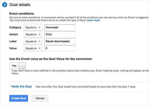 eventconditions - Как добавить отслеживание событий в Google Analytics
