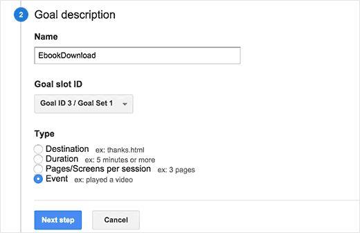 goaldescription - Как добавить отслеживание событий в Google Analytics