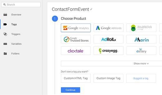 gtm chooseproduct - Как добавить отслеживание событий в Google Analytics