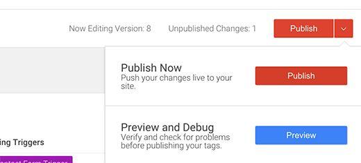 publish container - Как добавить отслеживание событий в Google Analytics
