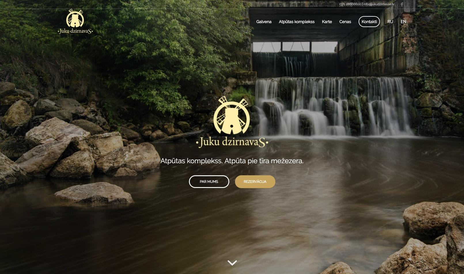 Создание сайта для базы отдыха Juku Dzirnavas