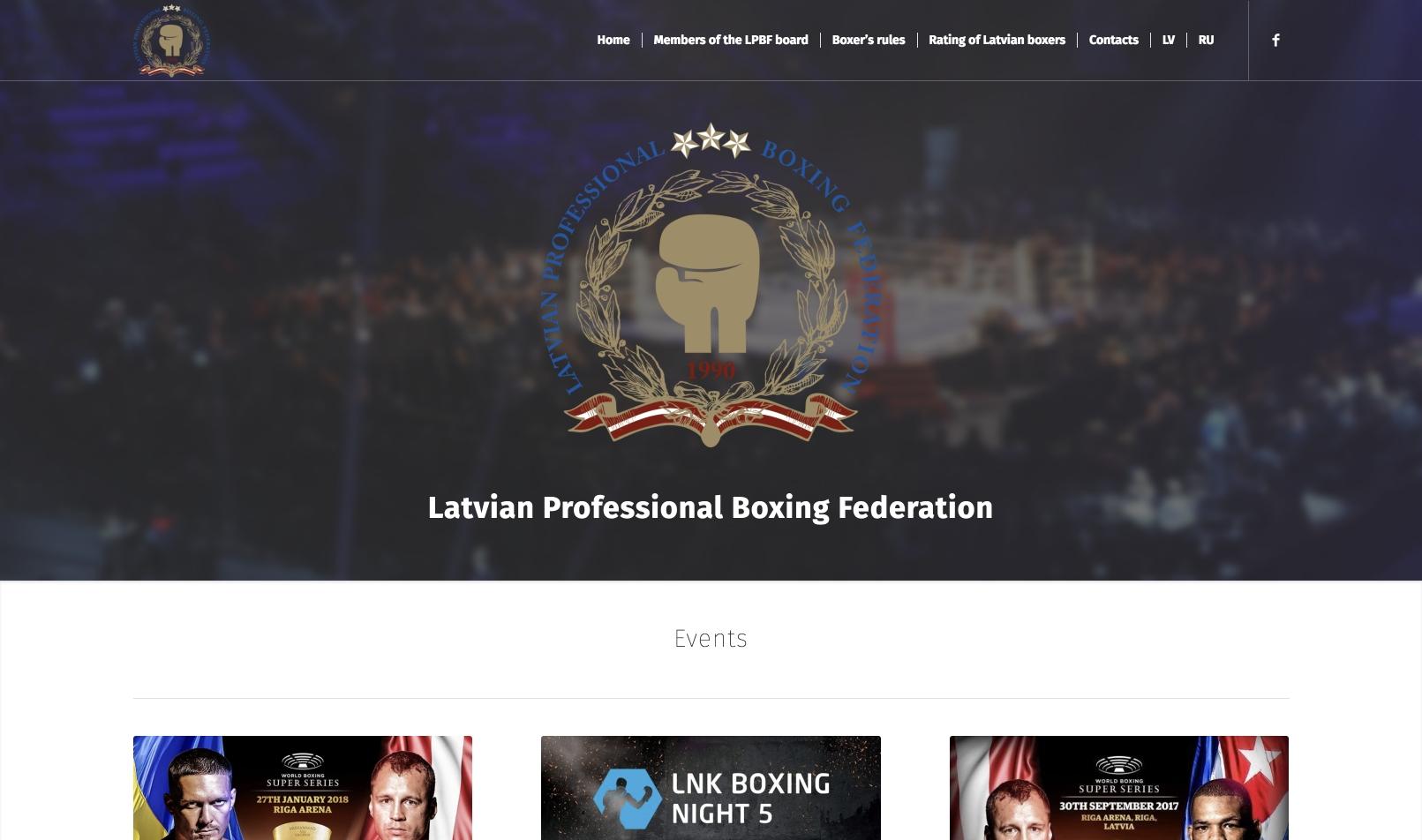 Создание сайта для Латвийской Федерации Профессионального Бокса