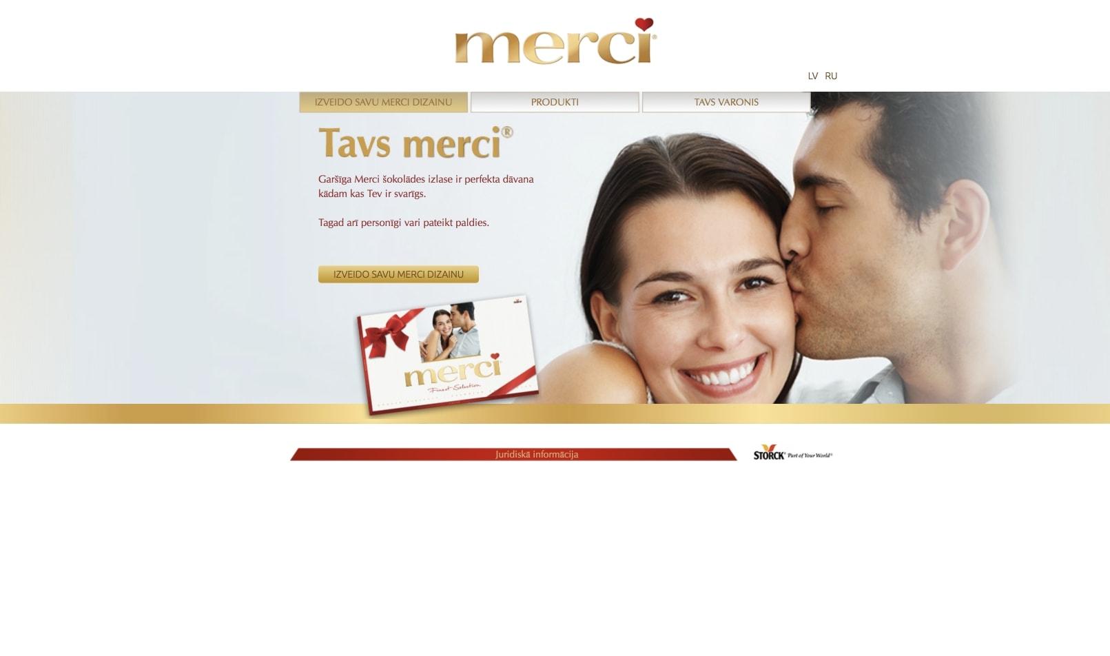 Сайт визитка для Merci конфет
