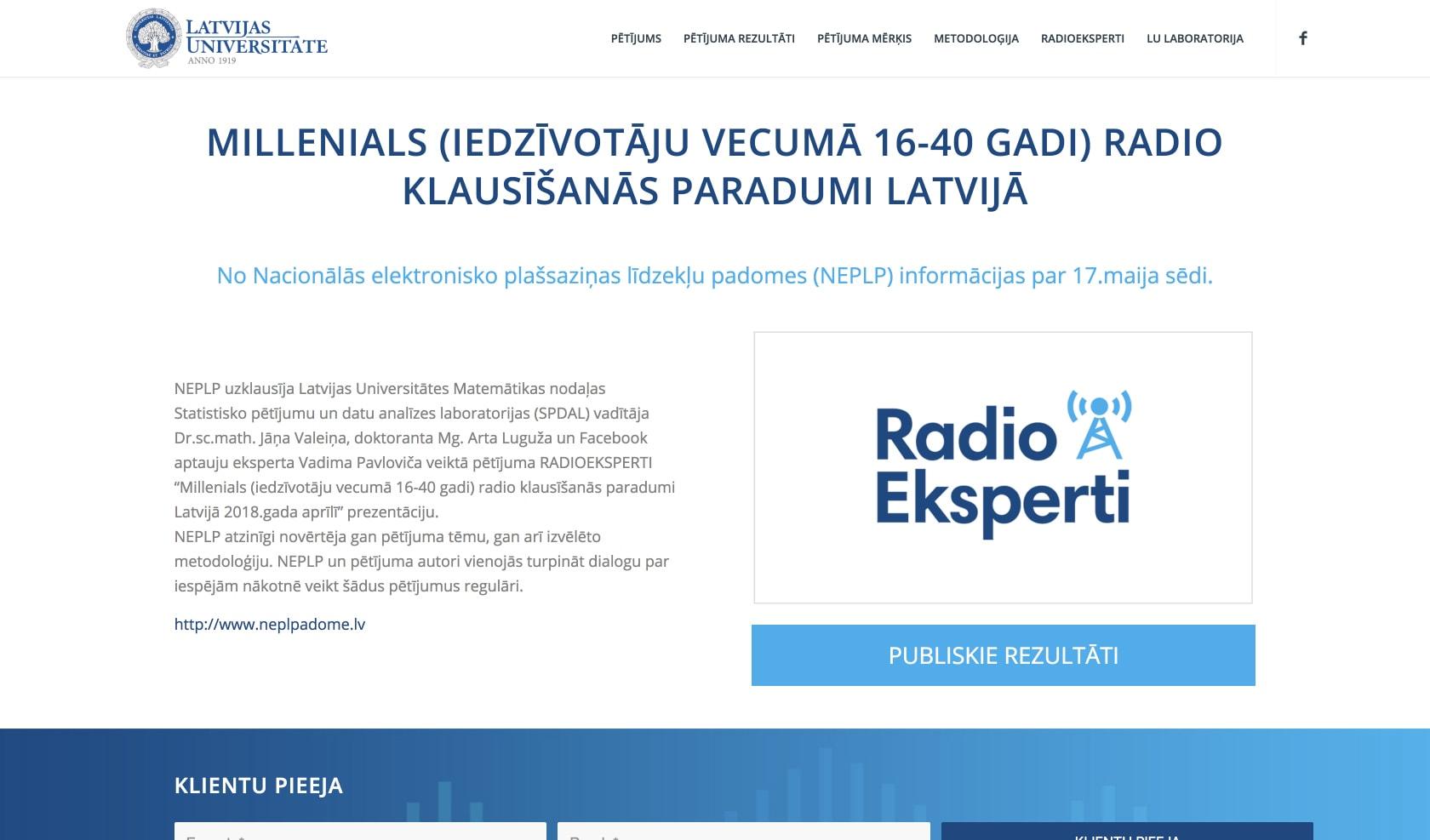 Корпоративный сайт для исследовательского проекта Radio Eksperti