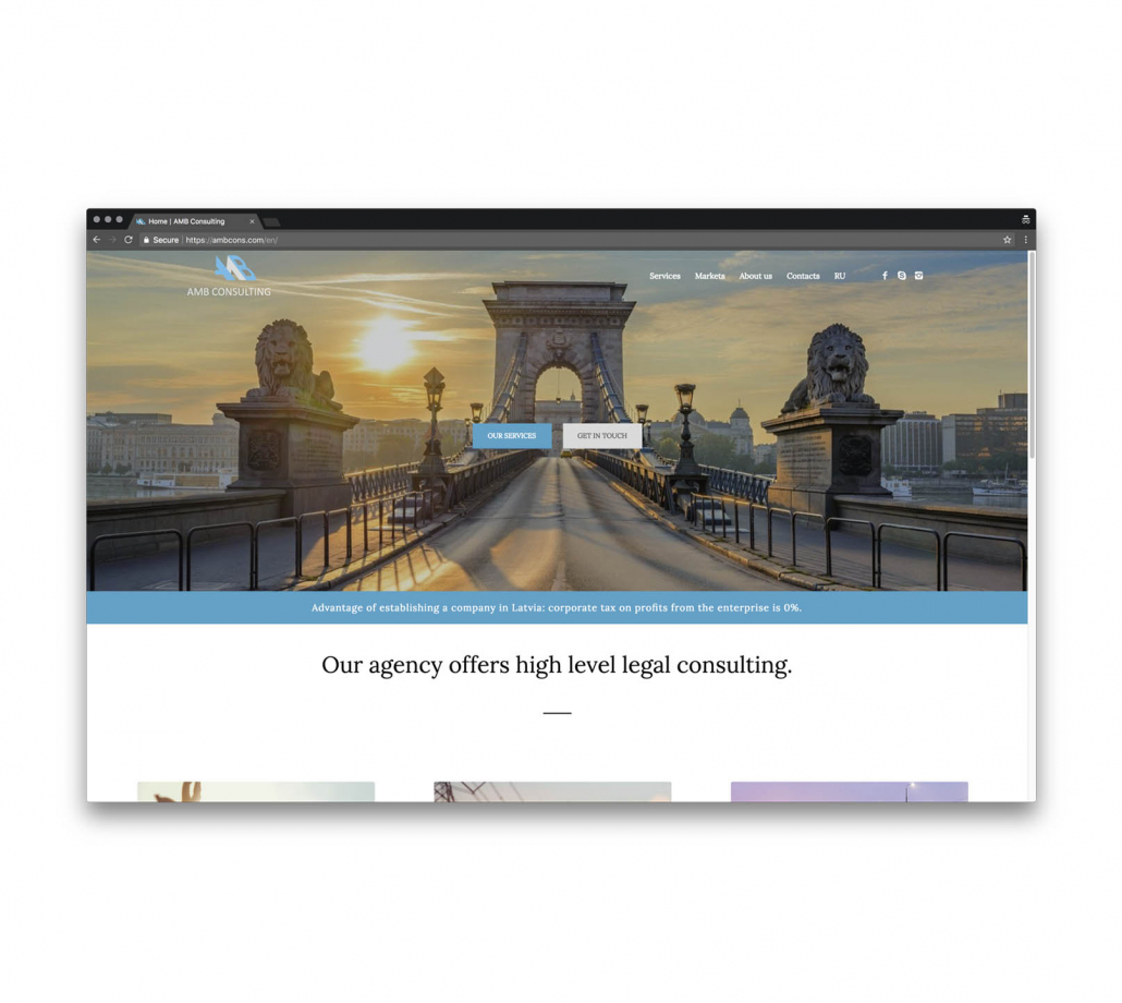 Корпоратинвй сайт для компании оказывающей юридические услуги