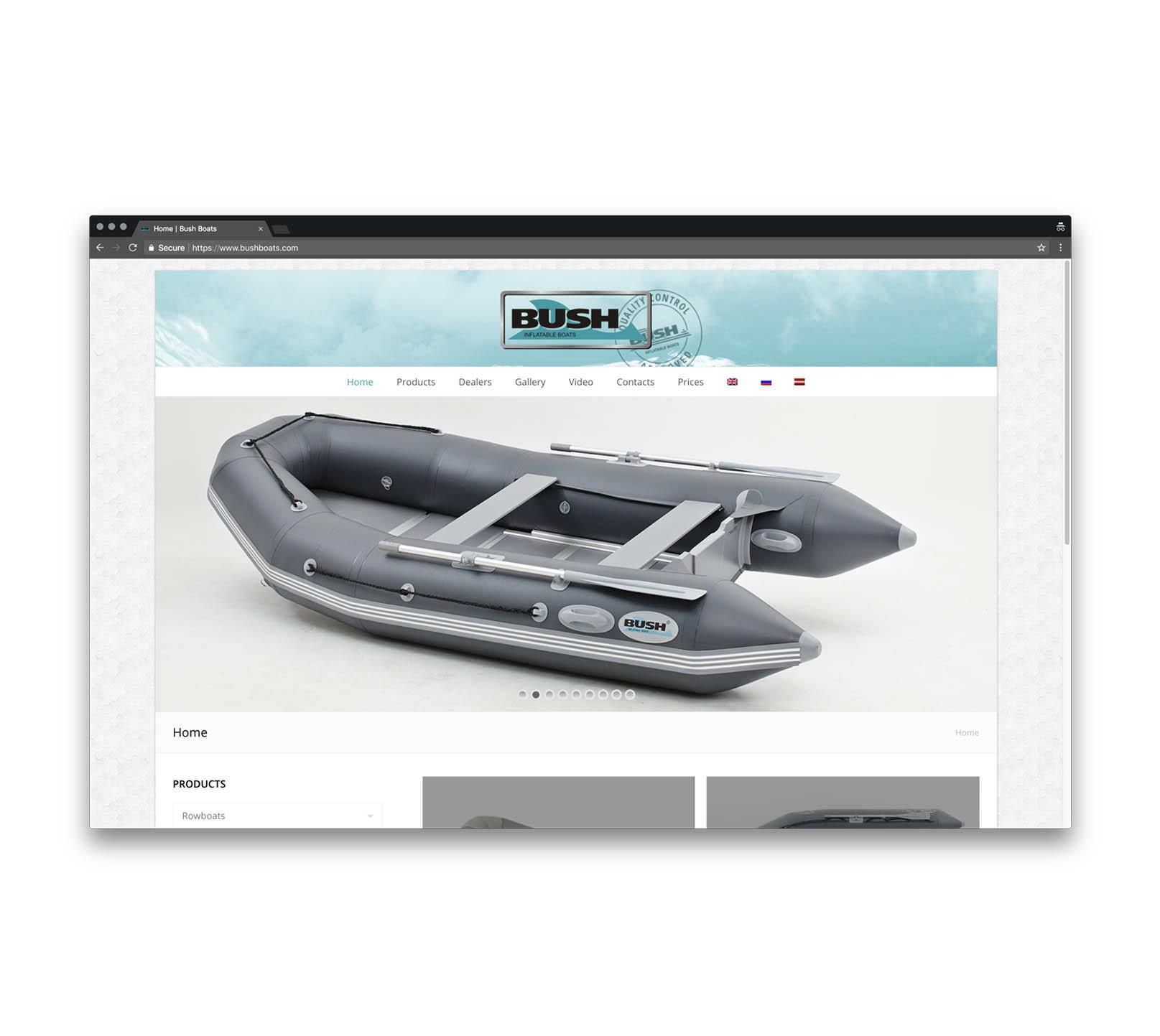 Корпоративный сайт для производителя моторных лодок
