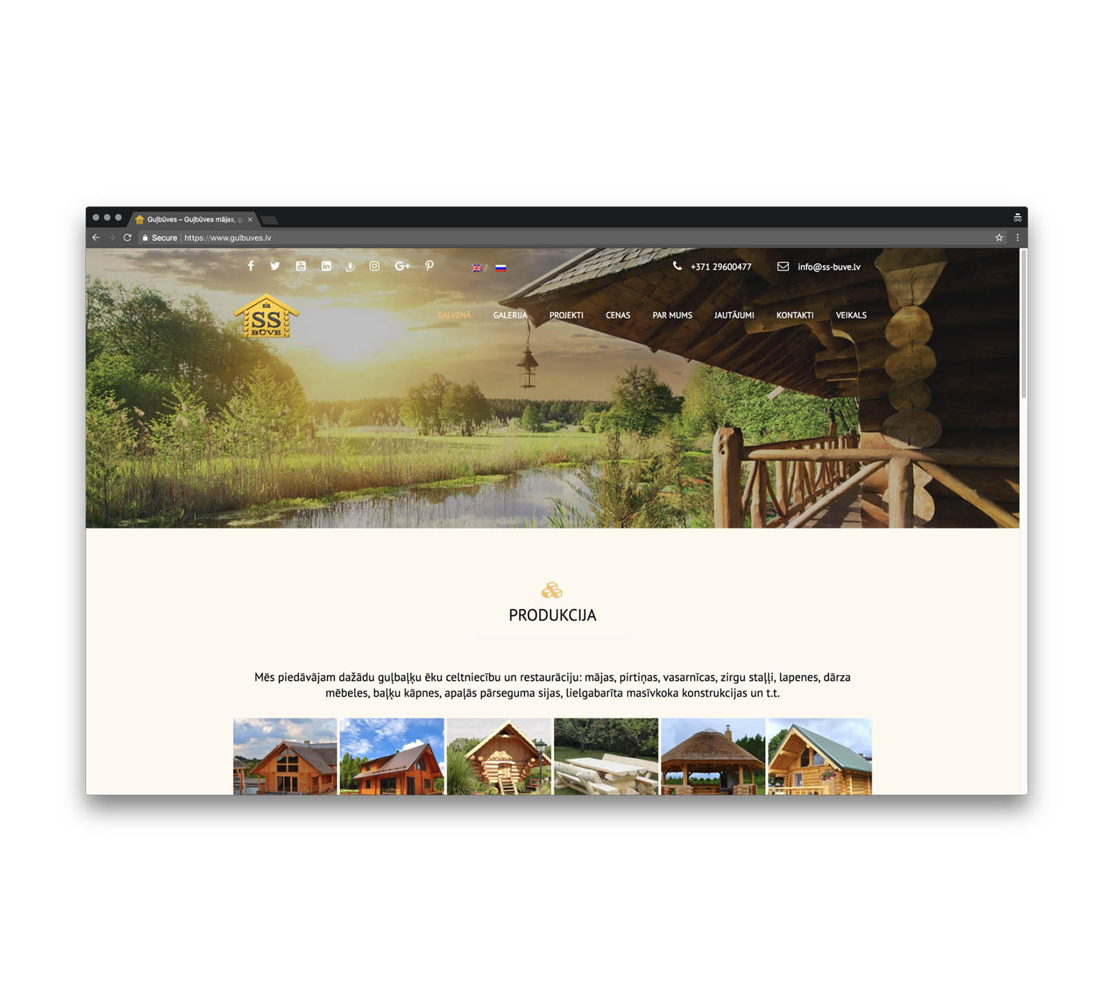 Корпоративный сайт для производителя домов из сруба