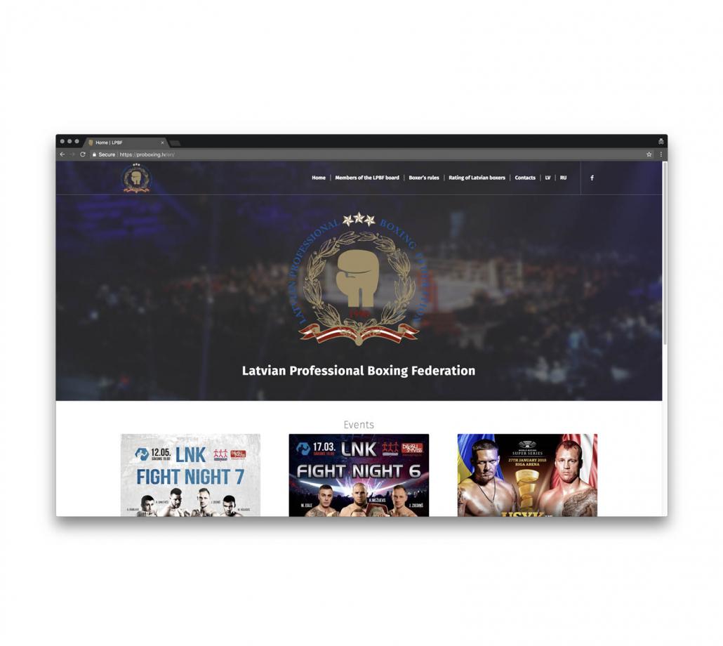 Корпоративный сайт для Латвийской Федерации Профессионального Бокса